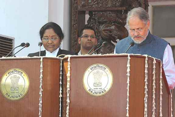 Justice Gorla Rohini (L), newly appointed Chief Justice of the High Court of Delhi with Lieutenant Governor of Delhi  Najeeb Jung during the swearing-in Ceremony at Raj Niwas, New Delhi.