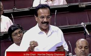 Railways Minister DV Sadananda Gowda speaks in the Rajya Sabha in New Delhi.