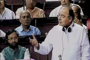Defence and Finance Minister Arun Jaitley speaks in the Rajya Sabha during the Budget Session.