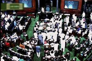 A scene from the ongoing Budget Session at the Lok Sabha.