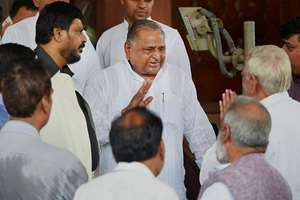 Samajwadi Party chief Mulayam Singh Yadav at Parliament.