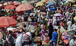 People busy in shopping for Eid, in Srinagar.