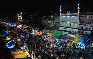Masjid and shop's decorated with lights on the eve of Eid festival in Jaipur.