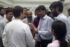 Congress Vice President Rahul Gandhi meeting agitating UPSC aspirants in New Delhi.