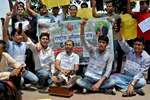 Civil Service aspirants under the banner of the Rashtriya Adhikar Manch staging a protest against CSAT, in Delhi.