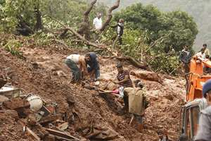 The site of the landslide in Pune distrit, Maharashtra which killed at least 17 people.