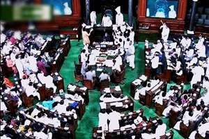 A view of the Lok Sabha during the Budget Session.