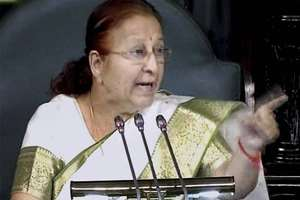 Lok Sabha Speaker Sumitra Mahajan addresses the Lok Sabha during the Budget Session.
