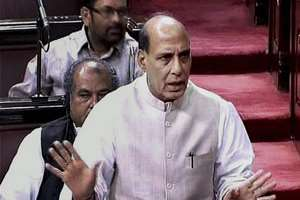 Union Home Minister Rajnath Singh speaks in the Rajya Sabha during the Budget Session.