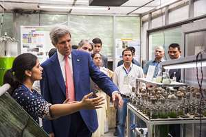 U.S. Secretary of State John Kerry visits the Indian Institute of Technology in New Delhi.