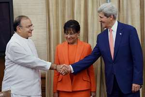Union Finance and Defence Minister Arun Jaitley with U.S. Secretary of State John Kerry (R) and U.S. Secretary of Commerce Penny Pritzker (C) during a meeting at North Block in New Delhi.