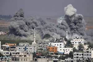 Smoke rises after an Israeli strike in Gaza City.