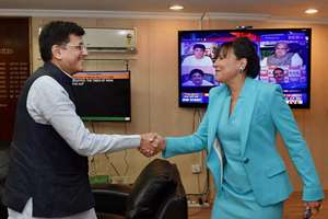 Power and Coal Minister Piyush Goyal shakes hands with US Secretary of Commerce Penny Pritzker during a meeting in New Delhi.