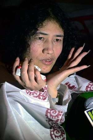 Irom Chanu Sharmila after her release from JN Hospital in Imphal.