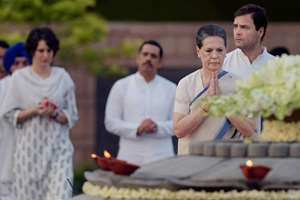 Congress President Sonia Gandhi along with party Vice President Rahul Gandhi and daughter Priyanka Vadra with her husband Robert Vadra  paying tribute to the former Prime Minister Rajiv Gandhi on his 70th birth anniversary at Vir Bhoomi in New Delhi.