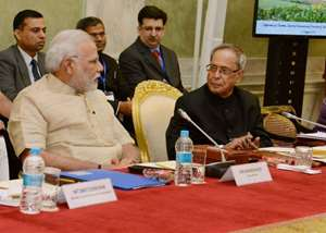 President Pranab Mukherjee and Prime Minister Narendra Modi at a conference of Chairmen, Board of Governors and Directors of Indian Institute of Technology at Rashtrapati Bhavan in New Delhi.