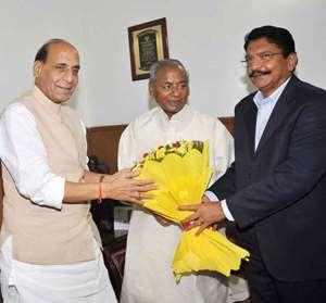 Designate Governor of Maharashtra and Rajasthan C Vidyasagar Rao and Kalyan Singh meet Union Home Minister Rajnath Singh in New Delhi.