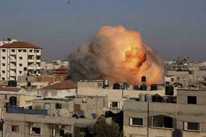 Israeli air strikes on the house of Nafez Azzam, a leader for Islamic Jihad leader, one hour before the announcement of the cease-fire between Palestinians and Israelis, in Rafah refugee camp, in the southern Gaza Strip.