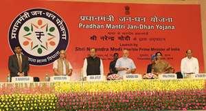 Prime Minister Narendra Modi launching the PM Jan dhan yojna