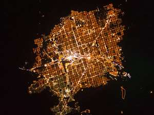 This Nov. 30, 2010 image taken by astronauts aboard the International Space Station and provided by NASA shows the city of Las Vegas. The dome of light created by the city can be seen from up to 200 miles away.