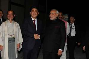 Prime Minister Narendra Modi being received by the Prime Minister of Japan Shinzo Abe, in Japan.