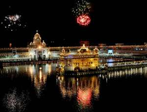 Fireworks on the occasion  of 410th installation anniversary of Sri Guru Granth Sahib, the holy book of Sikh religion, at the Golden Temple in Amritsar.