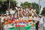 Congress party workers during their Wada Khilafi protest rally in Allahabad. The rally was organised to protest against the alleged non-fulfillment of the promises made by the PM Narendra Modi, even after 100 days of BJP rule.