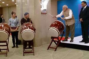 This photo of Prime Minister Narendra Modi, seen here in jugalbandi with ceremonial Japanese drummers, was tweeted by the MInistry of External Affairs.