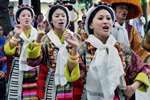 Tibetan artists perform during the commemoration of 54th Democracy Day at Tsuglagkhang temple in Dharamsala.