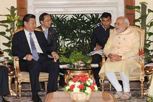 Prime Minister, Narendra Modi meeting the Chinese President, Xi Jinping, in New Delhi.