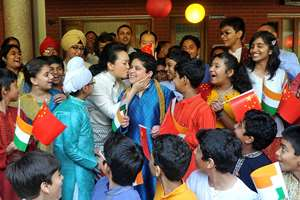 Chinese President Xi Jinping's wife visits Tagore International School, in New Delhi.