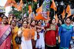 BJP and ABVP's women activists take part in a rally against the alleged molestation of Jadavpur University female students in Kolkata