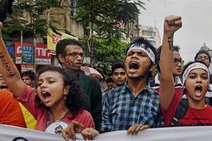 Students take part in a rally aganist the alleged molestation of Jadavpur University female student in Kolkata.