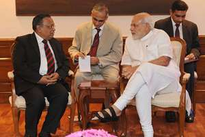 The Bangladesh Foreign Minister, Abul Hassan Mahmood Ali calling on the Prime Minister, Narendra Modi, in New Delhi.