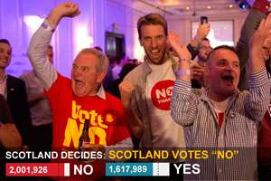 Scottish voters said a big No to independence and decided to stay in the 307-year-old union with England and Wales after a historic referendum that brought out bitter divisions while paving the way for a 'devolution revolution' in the UK.