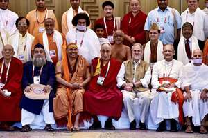 Lt Governor Najeeb Jung with spiritual leader Dalai Lama and other spiritual leaders at the meeting of Diverse Spiritual Traditions of India in New Delhi.