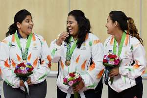 India's bronze medal winner Anisa Sayyed, Rahi Sarnobat and Heena Sidhu during the medal ceremony of in the 25m Pistol women's shooting event at the 17th Asian Games at Ongnyeon International Shooting Range in Incheon, South Korea on Monday.