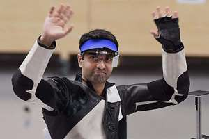 India's Abhinav Bindra celebrates after winning bronze medal in the 10m air rifle individual eventat the Ongnyeon International Shooting Range at the 17th Asian Games at Incheon, South Korea. Bindra bid adieu to Asian Games by clinching the individual bronze medal in men's 10-m air rifle event after guiding the team to a third-place finish on the fourth day of competitions.