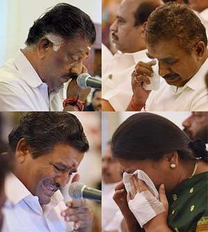 Combo image: Jayalalitha loyalist O Panneerselvam (top- left) and other leaders get emotional at their swearing-in ceremony at Raj Bhawan, in Chennai.