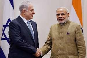 Prime Minister Narendra Modi greets Israel's Prime Minister Benjamin Netanyahu at a meeting in New York.