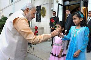 Prime Minister Narendra Modi interacts with the children at Indian Embassy in USA at Washington DC.