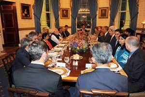 Prime Minister Narendra Modi and External Affairs minister Sushma Swaraj at the private dinner hosted by the US President Barack Obama, in his honour, at the White House in Washington DC.