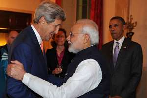 Prime Minister, Narendra Modi meeting the US Secretary of State, John Kerry, at the private dinner hosted by the US President Barack Obama, in his honour, at the White House in Washington DC.
