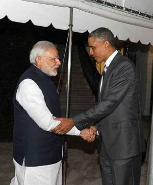 President of the US Barack Obama welcomes Prime Minister Narendra Modi to the private dinner hosted by the former for the diplomatic guest, at the White House in Washington DC.
