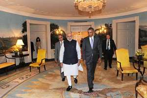 President of the US Barack Obama welcomes the Prime Minister, Narendra Modi, at the dinner hosted in his honour, at the White House, in Washington DC.