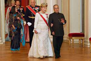 President Pranab Mukherjee with Queen Sonja, King Harald V, and HRH Crown Princess Mette-Marit, attending a state banquet at Royal Palace in Oslo, Norway.