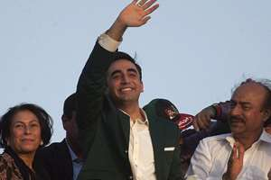 Bilawal Bhutto Zardari, center, chairman of Pakistan's main opposition party 'Pakistan Peoples Party' waves to party supporters upon his arrival to address a rally in Karachi, Pakistan. The rally marked the seventh anniversary of the devastating bomb attack that hit Benazir Bhutto's homecoming parade in Karachi on October 18, 2007, killing more than 100 people in the deadliest single terror attack on Pakistani soil.