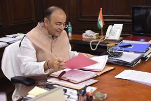 Union Finance Minister Arun Jaitley at his office in North Block in New Delhi after recuperating from illness that kept him away from office for nearly a month.