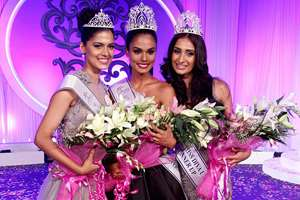 (L-R) Asha Bhat, Miss Diva Universe 2014 2nd runner up, Noyonita Lodh, Miss Diva Universe  2014 winner, Alankrita Sahai, Miss Diva Universe 2014 1st runner up pose after being crowned in Mumbai on Sunday night.