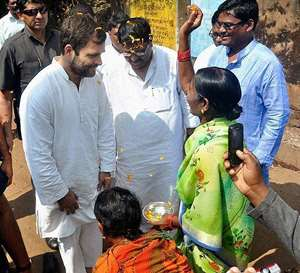 AICC Vice President Rahul Gandhi meets cyclone affected people at Laxmipur in Koraput district of Odisha.